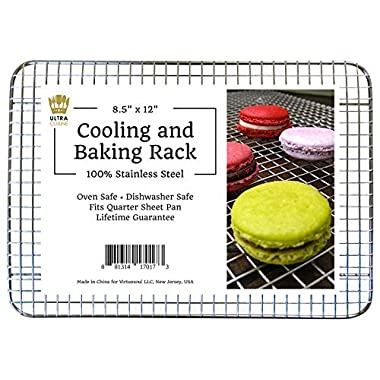 Ultra Cuisine 100% Stainless Steel Wire Cooling Rack fits Quarter Sheet Size Baking Pan, Heavy Duty, Commercial Quality, Oven Safe for Roasting Cooking Grilling (8.5  x 12 )