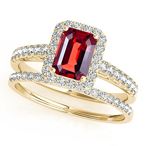 Shape Garnet Wedding Set (0.85 Ct. Ttw Diamond And Emerald Shape Garnet Bridal Set Ring In 10k Yellow Gold)