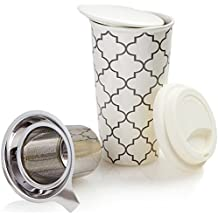 Ceramic Travel Mug with Lid. Double-Walled Insulated Cup comes with Deep Stainless Steel Tea Infuser and Bonus Silicone Top. Extra Tall Single Cup Perfectly Steeps Loose Leaf Tea … (White, 12 oz)