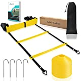 Coolrunner Agility Ladder, Speed Ladder with Carry Bag, 20 Feet 12 rung Training Athletic Equipment for Soccer, Speed, Football (Includes 8 cones + 4 Metal Stakes + Agility Drills eBook)