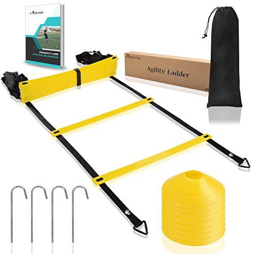 Coolrunner Agility Ladder, Speed Ladder with Carry Bag, 20 Feet 12 rung Training Athletic Equipment for Soccer, Speed, Football (Includes 8 cones + 4 Metal Stakes + Agility Drills eBook) by Coolrunner