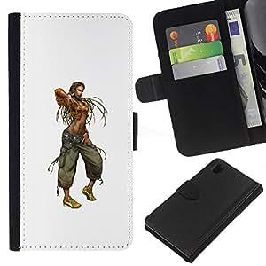 KLONGSHOP // Tirón de la caja Cartera de cuero con ranuras para tarjetas - Mujer de Rasta - Sony Xperia Z1 L39 //