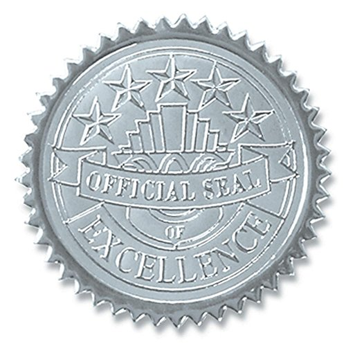Official Seal of Excellence Embossed Silver Foil Certificate Seals, 2 Inch, Self Adhesive, 102 ()