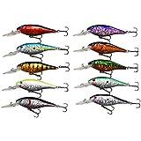 JSHANMEI ® 10pcs/lot Life-like Plastic Minnow Fishing Lures Baits Deep Diver Sinking Bass Crankbaits with 3D Fishing Eyes Two Treble Hooks