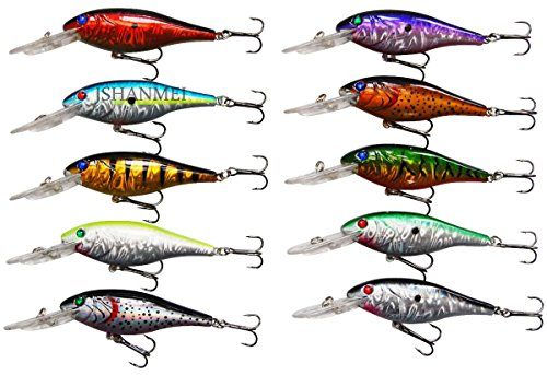 JSHANMEI Fishing Lures Hard Bait Minnow Lure with Treble Hook Life-Like Swimbait Fishing Bait 3D Fishing Eyes Crankbait for Bass Trout Walleye Redfish (Type A: 10pcs)