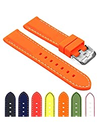 StrapsCo Rubber Divers Sport Replacement Watch Band in Orange w/ White Stitching 22mm