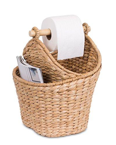 BirdRock Home Seagrass Magazine and Bathroom Basket - Hand Woven Toilet Paper Holder with Pocket - Honey - Stylish Decorative Design - Wooden Basket Décor - Dispenser