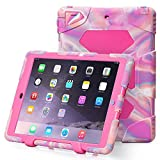 iPad Air 2 Case, iPad 6 Case, ACEGUARDER® [Shockproof] [Heavy Duty] [Military] Extreme Tough & Drop Resistance Soft Silicone Case with Kickstand for Apple iPad Air 2 (Whistle + Stylus Pen + Carabiner) (Pink Camo/Rose)