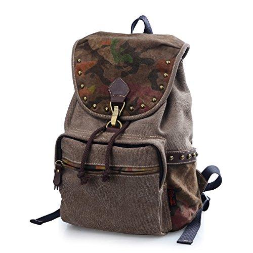 Douguyan - Moda mochila para Mujer de lona Bolsas de Viaje Casual Trekking- E00159 Marrón Marrón