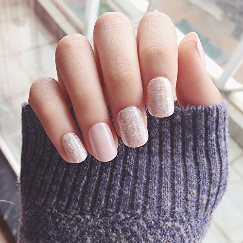 Yunail 24 pcs Shinning Star Short Fake Nails Glitter Nude Nail Tips with Design in box cute Nials for Daily Office (Cute Halloween Nail Designs For Short Nails)