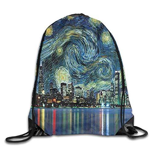 Unique Travel 05 Night For In Customized Gym Bag Lightweight Drawstring 17x14 Hiking Star Color City Rucksack Uykjuykj z6wFn