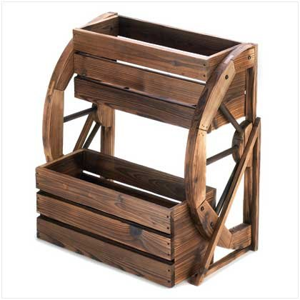 Furniture Creations Fir Wood Wagon Wheel Double Tier Plan...