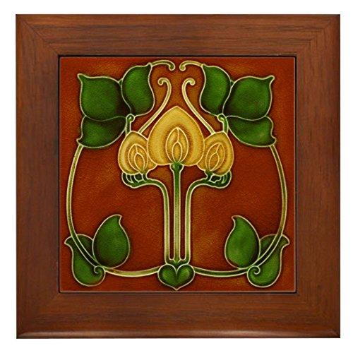 CafePress Framed Tile with Art Nouveau Yellow Floral Form Framed Tile, Decorative Tile Wall Hanging