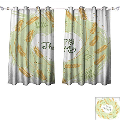 4 Light Wheat Chandelier (DragonBui Thermal Insulating Blackout Curtain Happy Thanksgiving Fall Background with Wheat Ears1 Pocket Insulated Tie Up Curtains W108 x L72/Pair)