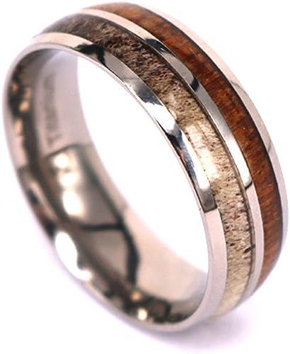 Kingswayjewelry Natural Deer Antler Ring With Koa Wood Inlay