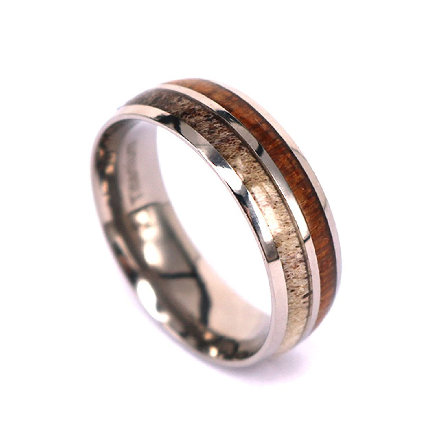 elegant mens inlay elk gallery rings deer antler koa within com with ring band wood wedding unisex matvuk natural