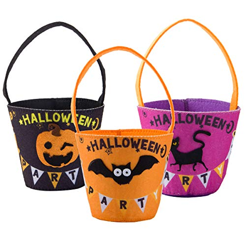Anphsin 3 Pcs Halloween Candy Buckets- Bat Pumpkin Black Cat Pattern Candy Snack Pails Baskets with Handles Trick or Treat Totes Gift Goodie Bags for Kids Girls Boys Halloween Party