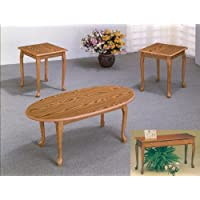 3 Piece Oak Occasional Living Room Table Set