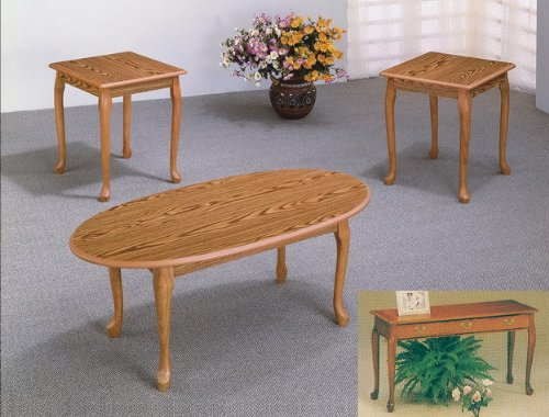 Queen Anne Oval End Table (3 Piece Oak Occasional Living Room Table)