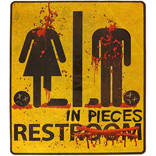 Skeleteen Bloody Restroom Sign Sticker - Halloween, Haunted House and Horror Themed Parties Bathroom Door Decoration - Removable, Sticks on Most Surfaces, Comes Off Clean ()