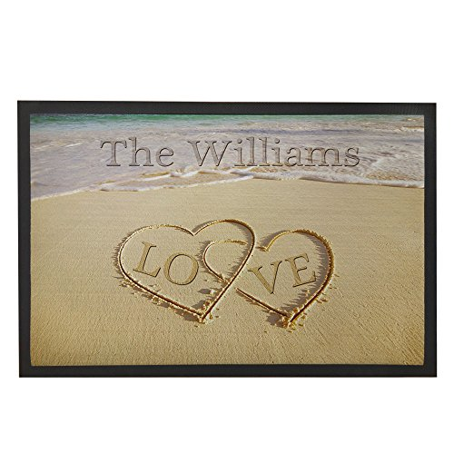 Personalized Front Door Mats (LOVE Beach Themed Home Mat Personalized Front Door Welcome Mat Rubber Doormat Indoor Outdoor 31.5x19.7