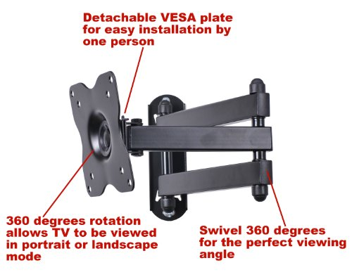 "VideoSecu Articulating Arm TV Wall Mount, Full Motion Tilt Swivel and Rotate for Most 15"" 17"" 19"" 20"" 22"" 23"" 24"" 26"" 27"" LCD LED TV Monitor Flat Panel Screen with VESA 100, 75 ML12B CB5"