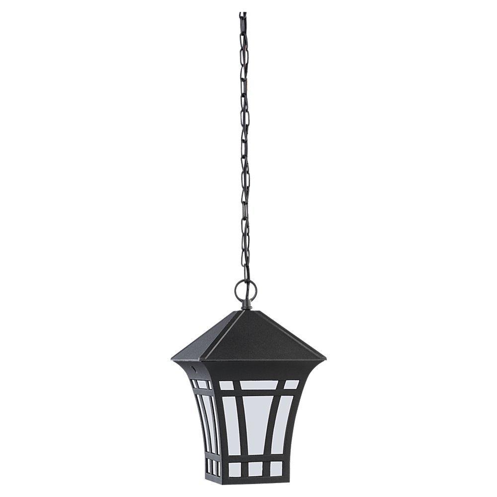 Sea Gull Lighting 69131BLE-12 1-Light Herrington Outdoor Pendant, Black Finish with Etched/White Glass by Sea Gull Lighting  B0088W29GK