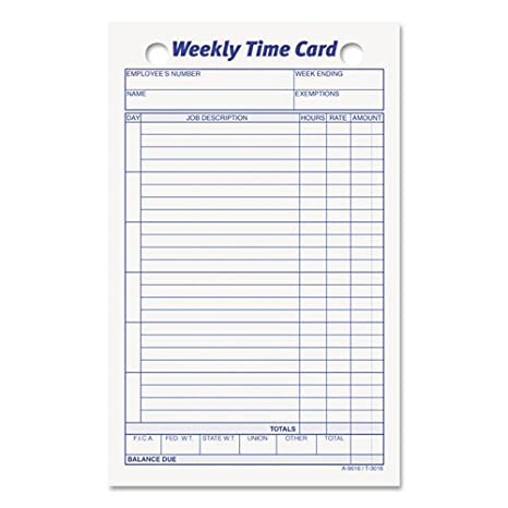 tops employee time card weekly 4 14 x 6 34 - Weekly Time Card