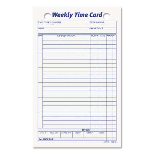 TOP3016 - Employee Time Card by Tops