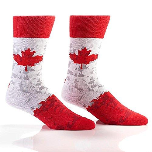 Yo Sox Canada Pride Cool Men's Red Crew Socks - Funky Socks for Dress or Casual Wear Size 7-12 (Socks Canadian Men)