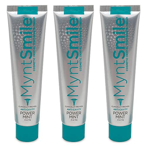 MyntSmile Toothpaste for Porcelain Veneers and Crowns .5 oz (Pack of 3 Travel Size Toothpaste with Clear Travel Bag)