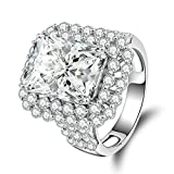 AmDxD Jewelry Silver Plated Women Promise Customizable Rings Cushion Cut CZ Size 5.5