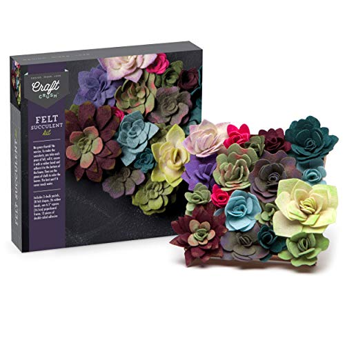 Craft Crush - Felt Succulents Kit - Craft Kit Makes One DIY Garden-Like Décor Piece