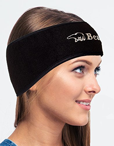 Bear Fleece Ear Warmer Headband - Full Ear Coverage - Thermal, Contoured Design - Lightweight & Breathable (Black)