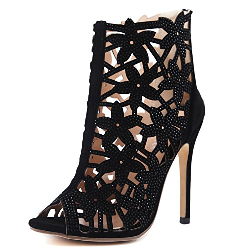 Rhinestone Women's Club Black Ladies Roman Shoes Summer Bombas Altos Peep Out Cut Boot Sandalias Tacones Toe Discoteca aIzz7