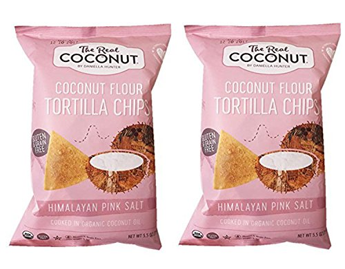 The Real Coconut Grain/Gluten Free Coconut Flour Tortilla Chips 2 Pack (Himalayan) (No Flour Wheat)