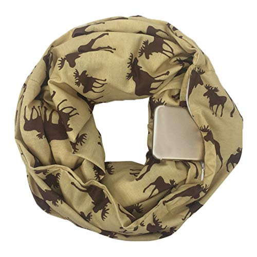 Women Christmas Santa Print Convertible Infinity Scarf Pocket Zipper Pocket Autumn Winter Shawl Holiday Scarves Gift (Yellow, Free Size) from Appoi Christmas Scarf