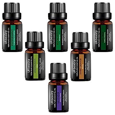 URbeauty Essential Oils, 6 Bottles Aromatherapy Essential Oil Diffuser Essential Oils 100% Pure Lavender, Peppermint, Sweet Orange, Eucalyptus, Tea Tree, Lemongrass Essential Oil Gift Set(0.33oz each)