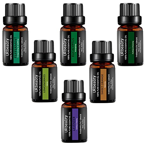 URbeauty Essential Oils, 6 Bottles Aromatherapy Essential Oil Diffuser Essential Oils 100% Pure Lavender, Peppermint, Sweet Orange, Eucalyptus, Tea Tree, Lemongrass Essential Oil Gift Set(0.33oz each)