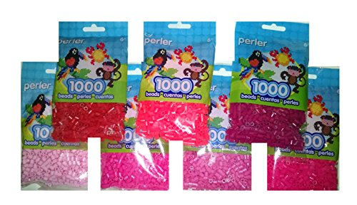 Perler Bead Bag, 7 Pack Group (Red, Pink, L. Pink, Raspberry, Bubble Gum, Magenta, Hot Coral ) ()