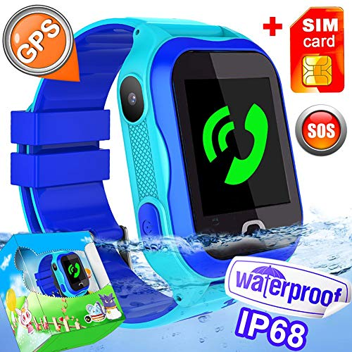 [SIM Included]- Kid Smart Watch Phone IP68 Waterproof WiFi GPS Tracker Best School Gift Girls Boys with SIM Pedometer SOS Camera for iOS/Android Swim Summer Travel Outdoor Holiday Gift by Hyanwoo