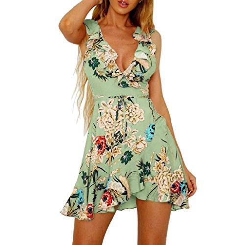 Charm Ruffled Skirt (Swyss Ruffled Printed Boho A Line Mini Dress,Spaghetti Strap Beach Dress,New Fashion Sleeveless Summer Skater Dress (XL, Green))