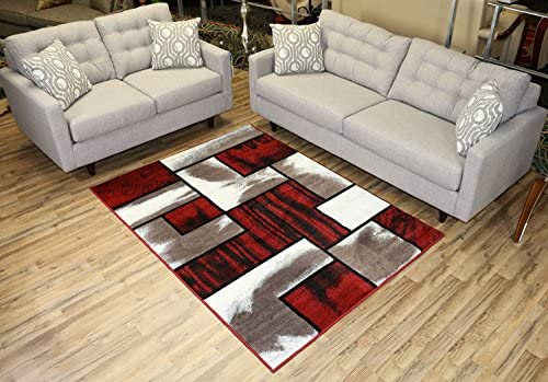 Comfy Collection Squares Geometric Design Area Rug Modern Contemporary Rug 2 Color Options Red Cappuccino, 4 11 x 6 11