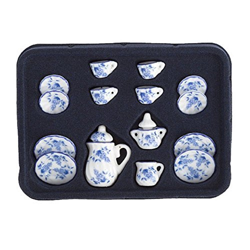 Dollhouse Miniature 1:12 Scale Tea Set, Ceramic, Blue & White, 17 pcs - Miniature Ceramic Tea Set