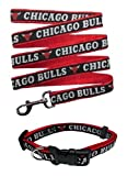 Chicago Bulls Nylon Collar and Matching Leash for Pets (NBA Official by Pets First) Size Small