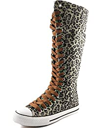 DailyShoes Women's Canvas Mid Calf Tall Boots Casual Sneaker Punk Flat, Sky Blue