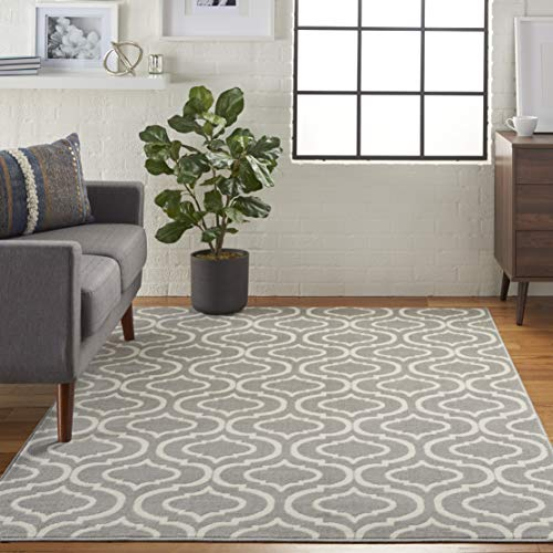 Nourison JUB19 Jubilant Casual Trellis Grey Area Rug 6' x - Low Pile Rectangle Rug
