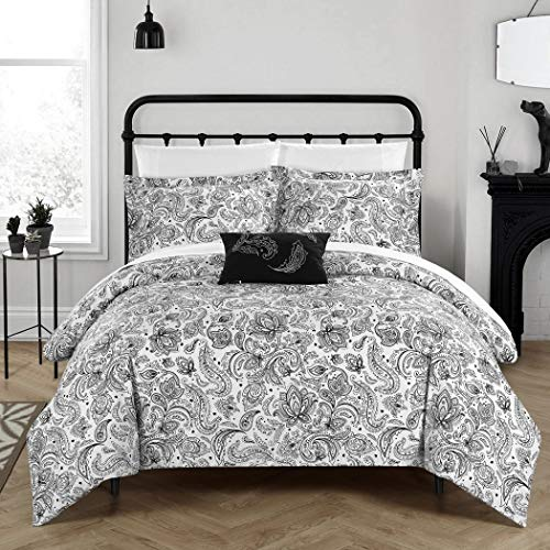 4 Piece Black White Vintage Paisley Duvet Cover Queen Set, Luxurious Rich Motif Floral Pattern Comforter Cover Bedding Bohemian Wild Garden Flowers Design, Casual Style Bright Colors, Soft Microfiber Black And White Paisley Duvet Cover