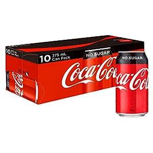 Coca-Cola No Sugar Soft Drink Multipack Cans, 10 x 375 ml