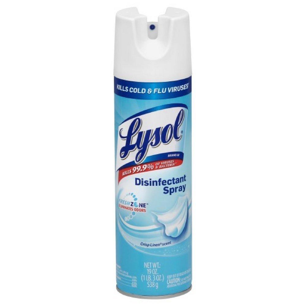 Lysol Disinfectant Spray, Crisp Linen, 19 Ounce (Pack of 8)